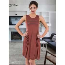 Платье Cocoon коричневое с...